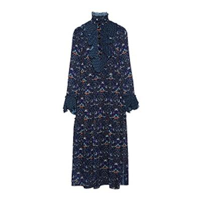 Printed Plissé-Trimmed Georgette Midi Dress
