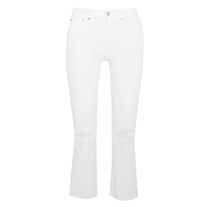 Cali Cropped Distressed High-Rise Flare Jeans