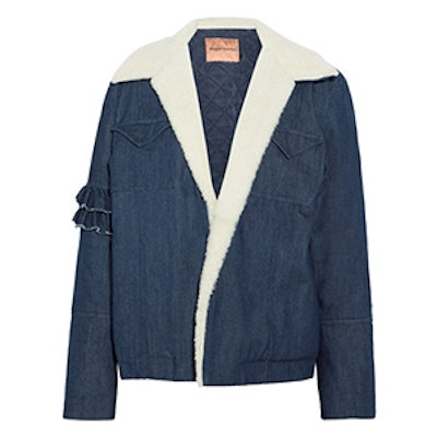 Made For Greatness Shearling-Trimmed Denim Jacket