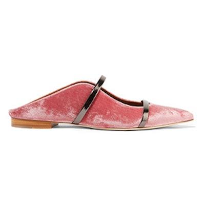 Maureen Leather-Trimmed Velvet Point-Toe Flats