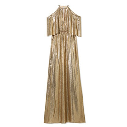 Marlene Cold-Shoulder Gold Metallic Jacquard Gown