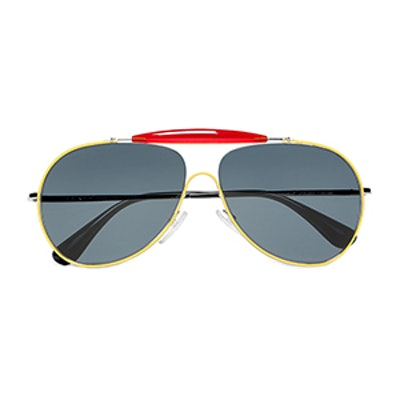 Aviator-Style Metal and Acetate Sunglasses in Yellow