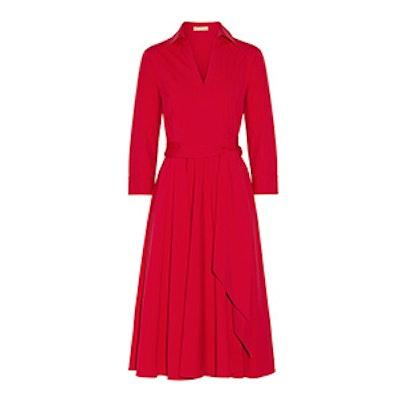 Stretch-Cotton Poplin Wrap Dress