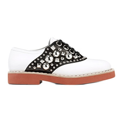 Studded Two-Tone Leather Brogues