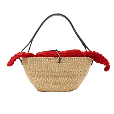 Egg Knit Straw Tote