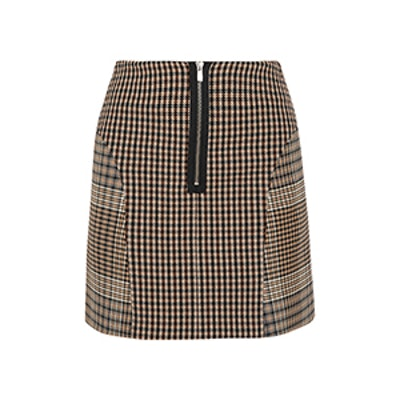 Checked Cotton-Blend Mini Skirt