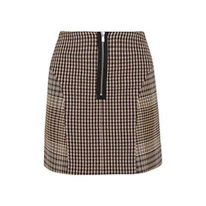 Checked Cotton-Blend Mini Skirt
