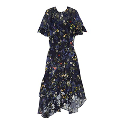 Annabel Floral-Print Devoré Silk-Blend Chiffon Midi Dress