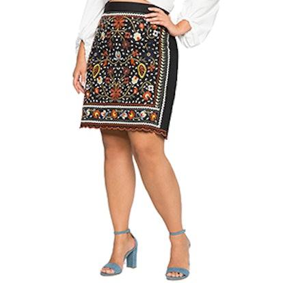 Studio Embroidered Pencil Skirt
