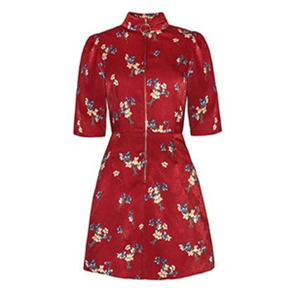 Floral Zip Front Fit And Flare Dress