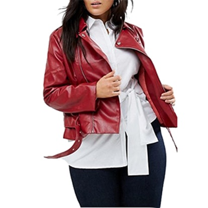 Plus Leather Look Belted Jacket