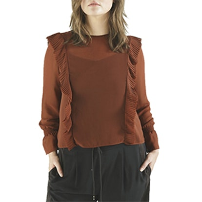 Rust Frill Front Blouse