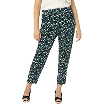 Teal Floral Print Tapered Leg Trousers