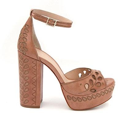 Juliana Laser-Cut Leather Peep-Toe Platform Sandals
