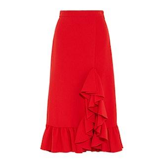 Ruffled Crepe Midi Skirt