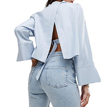 Studio Cropped Trapeze Sleeve Shirt With Open Back