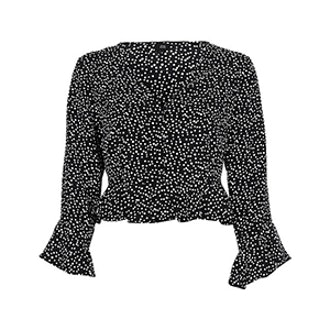 Black Spot Frill Sleeve Crop Top