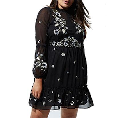 Black Floral Embroidered Smock Dress
