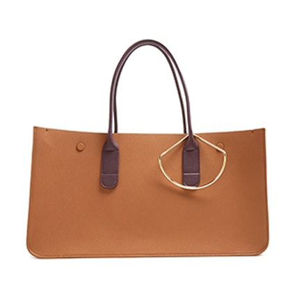 Louise Contrast-Handle Leather Tote