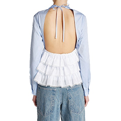 Cotton Shirt With Cut-Out Back and Lace