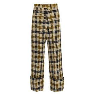 Houndstooth Wool Cuffed Pant