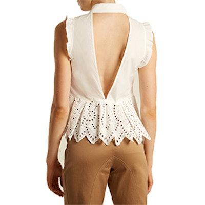 Open-Back Cotton-Blend Poplin Top