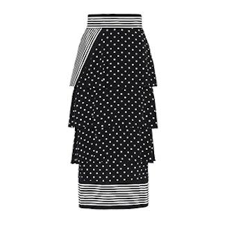 Tiered Polka Dot Midi Skirt