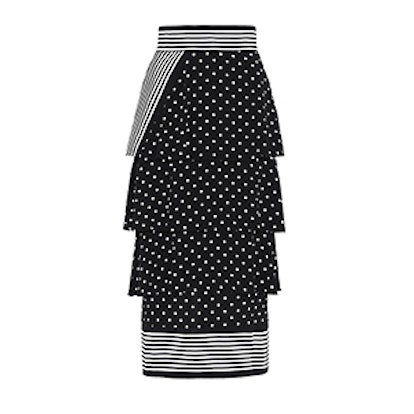 Tiered Polka Dot Midi Skirt