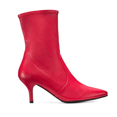 The Cling Bootie in Red Leather