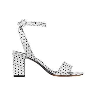 Leticia Polka-Dot Twill Sandals