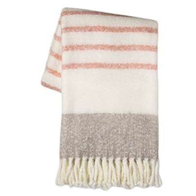 Gray Throw Blanket in Honey Peach