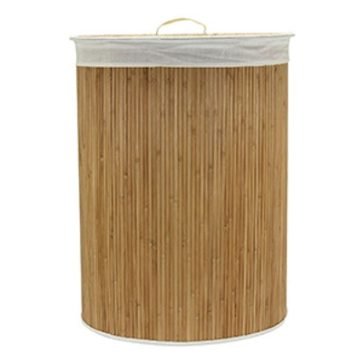 Household Essentials Oval Bamboo Hamper with Cedar Bottom and Removable Bag