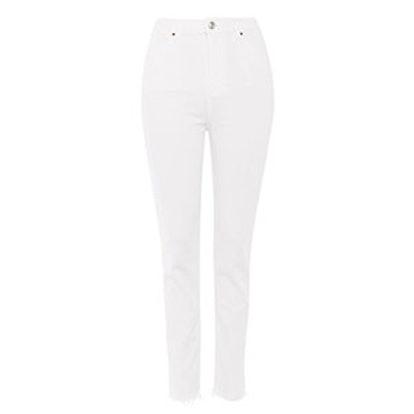 Moto White Raw Hem Orson Slim Leg Jeans