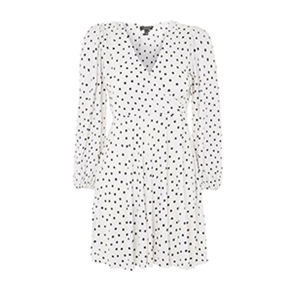Spot Print Plisse Wrap Dress