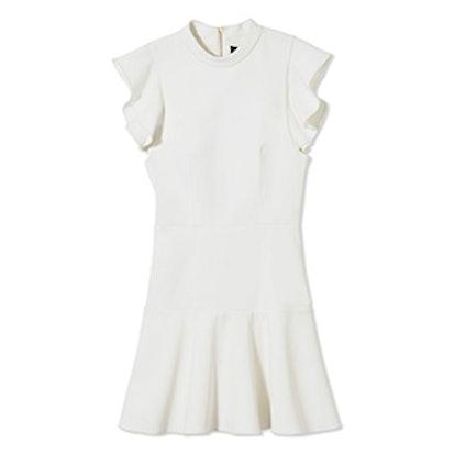 White Rocco High-Neck Twill Mini Dress