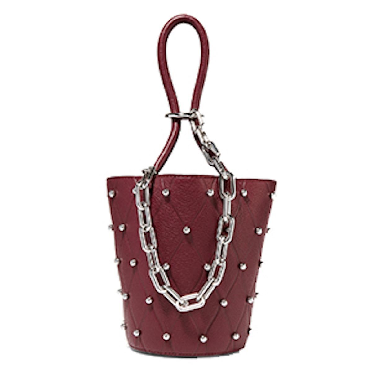 Roxy Mini Studded Textured-Leather Bucket Bag