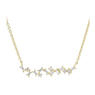 14KT Yellow Gold Diamond Jagged Bar Necklace
