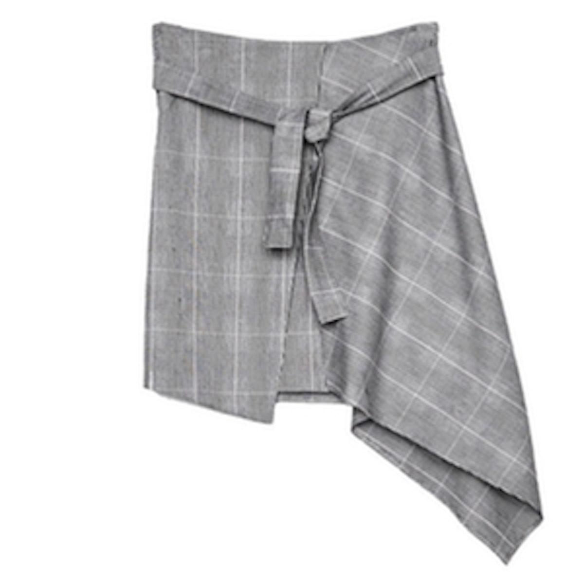 Asymmetric Skirt With Belt