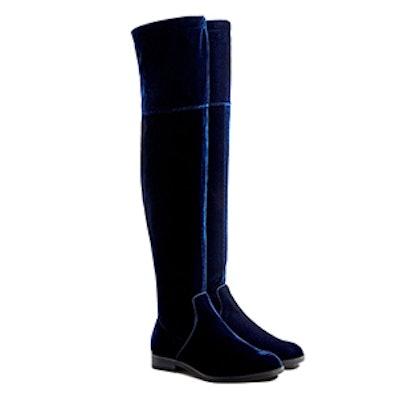 Flat Velvet Over-The-Knee Boots