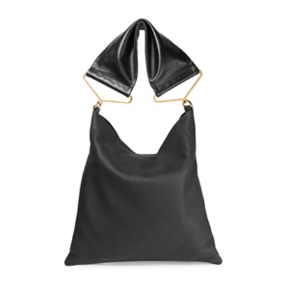 Maxi Strap Textured-Leather Tote