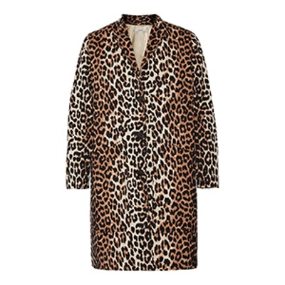Leopard-Print Cotton-Twill Coat