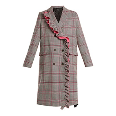 Asymmetric-Ruffle Prince of Wales-Checked Coat