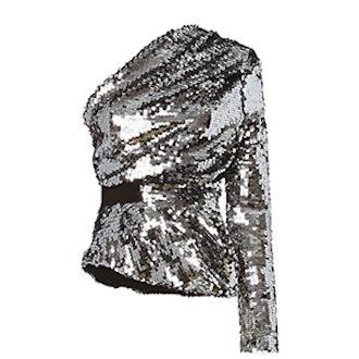 Silver Sequin One Shoulder Top