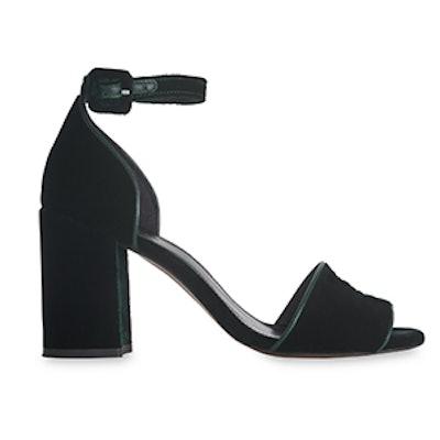 Green Hedda Velvet Heel Sandal