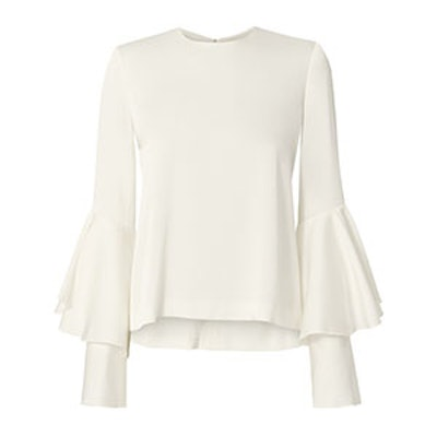 Galvan Tiered Bell Sleeve White Satin Top