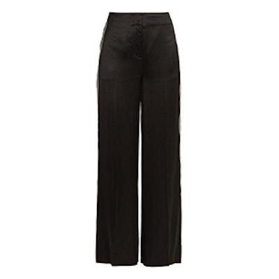 Ribbon Wide-Leg Satin Trousers