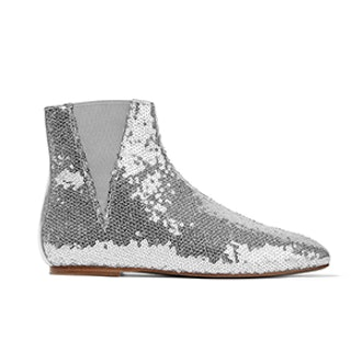 Sequined Leather Chelsea Boots