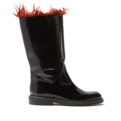 Faux-Fur Trimmed Leather Boots