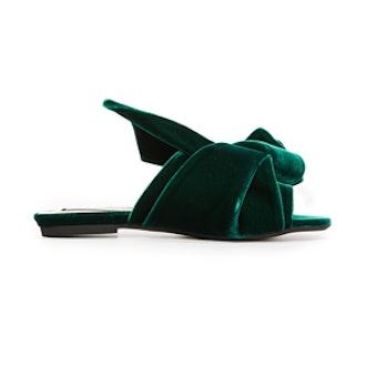 Flat Slides With Bow In Velvet