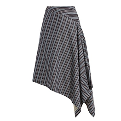 Draped-Front Striped Cotton-Blend Skirt